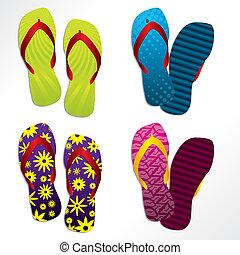 Various flip flop designs - Various colorful flip flop...
