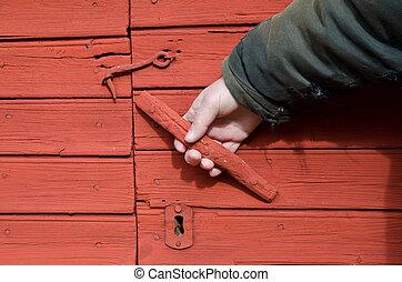 Red doorhandle
