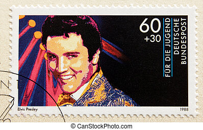 Elvis Presley - GERMANY - CIRCA 1988. A postage stamp...