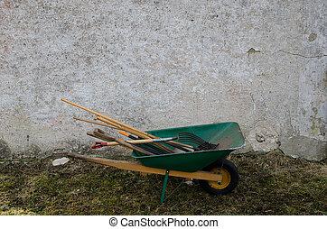 Tools in a wheelbarrow