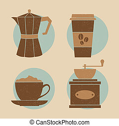 Coffee Icon Set - A set of four icons with coffee related...