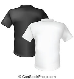 Black and white T-shirt Back View. Illustration on white...