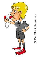Referee - Cartoon illustration of a soccer referee