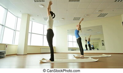 Keeping fit - Girls in a gym keeping fit and flexible by...