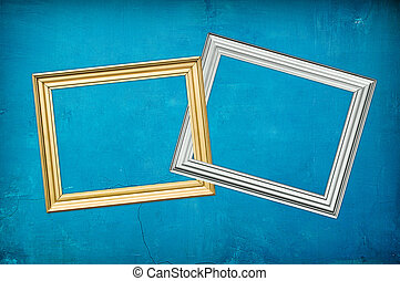 blu background with two frames - grungy blue vintage...