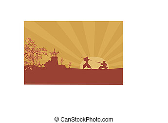 Samurai silhouette in Asian