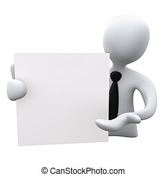 Notepad - 3d business person holding a notepad