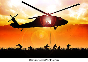 Drop Point - Helicopter is dropping the troops