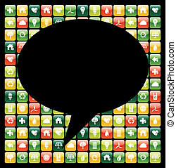 Global mobile phone green apps icons bubble