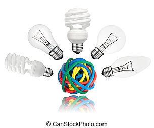 Solution - Various Lightbulbs above colored cables -...