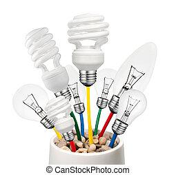 Idea - Various Lightbulbs Growing in a Pot