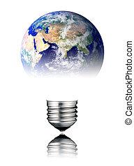 Lightbulb World Shape - Asia, Africa - Lightbulb in the...