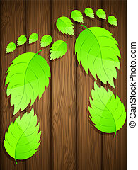Wooden background with fresh green leaves. Vector illustration.
