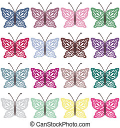 set with color butterflies on white