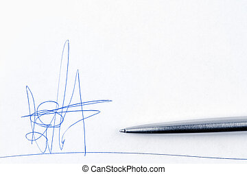 Fictitious signature - Fake signature and pen on paper