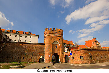 Bridge gate, Torun, Poland - Bridge tower gate and city...