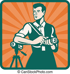 Photographer With DSLR Camera and Video Retro - Illustration...