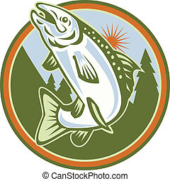 Spotted Speckled Trout Fish Jumping - Illustration of a...
