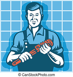 Plumber Worker With Monkey Wrench R - Illustration of a...