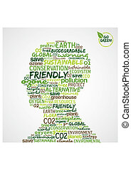 Go Green. Man head with words cloud about environmental...