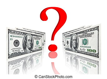 question symbol between dollar banknotes - red question...