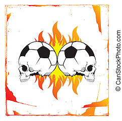 soccer skull flame - editable vector graphic art...