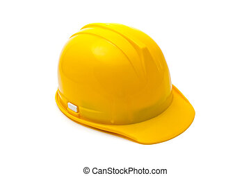 Yellow hard hat, protective equipment in construction...