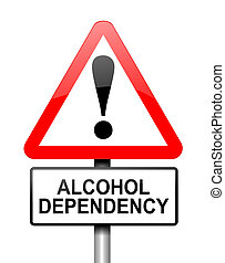 Alcohol misuse concept - Illustration depicting red and...