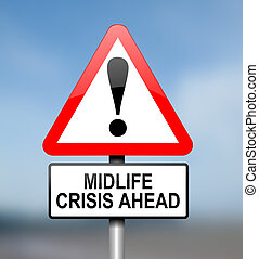 Midlife crisis concept. - Illustration depicting red and...