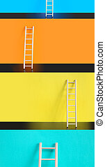 Ladders Of Success - Success concept Few wooden ladders...