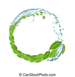 Leaves And Water - Ecology conceptRound frame made from...