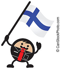 cartoon flag - illustration of cartoon flag