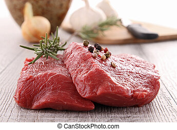 raw beefsteak and ingredients