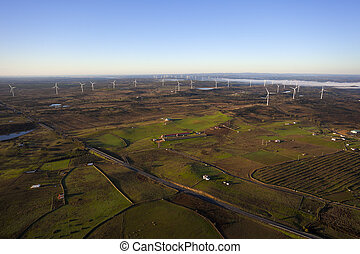Aerial view of windmills in the countryside