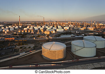 Aerial view over oil refinery