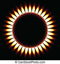 Gas Flame. - Red Gas Flame. Illustration on black background
