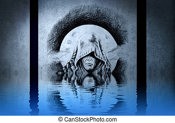 Demon head tattoo on blue wall reflections in the water