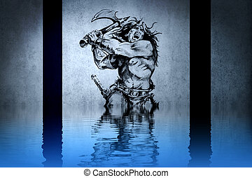 Tattoo warrior in the war on blue wall with water reflections