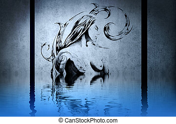 Tattoo wood nymph on blue wall with water reflections
