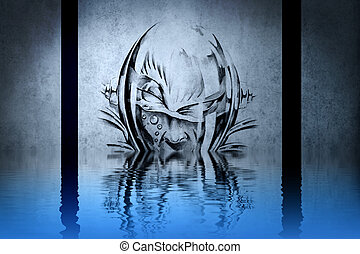 Monstrous character on blue wall reflections in the water