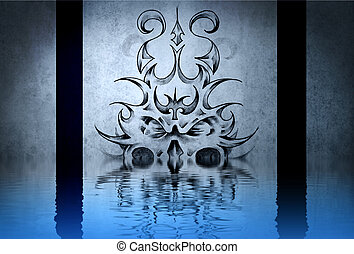 gargouille, tatouage, pierre, mur, bleu, eau, réflexions