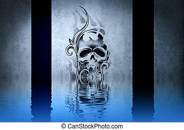 bleu, tatouage, crâne, mur, eau, réflexions