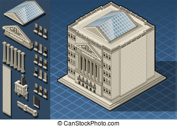 Isometric stock exchange building - Detailed illustration of...