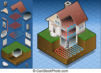 geothermal heat pumpunderfloorheat - Detailed illustration...