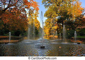 Autumn fontains at the Stadtschloss park in Fulda, Hessen,...