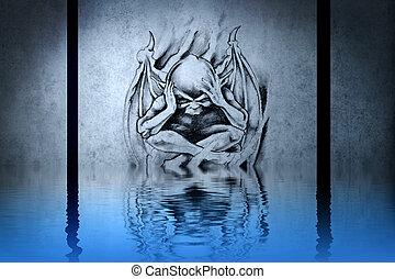 bleu, tatouage, tête, mur,  démon, eau, réflexions
