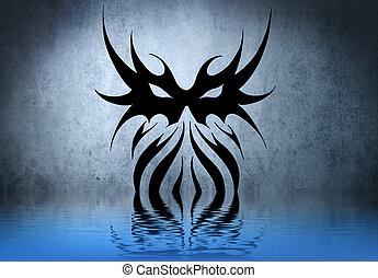 bleu, tatouage, mur,  tribal, eau, réflexions, formes