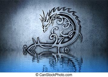 bleu, tatouage, mur, eau, réflexions, agréable, dessin