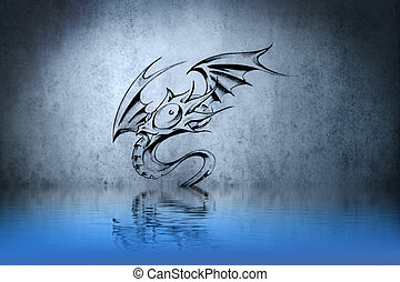 funny dragon tattoo on blue wall reflections in the water