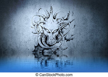 Stone gargoyle tattoo on blue wall reflections in the water